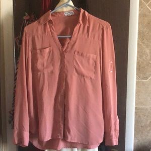 Pink Business Button Down Blouse Express